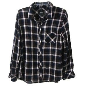 Large RAILS Black White Plaid Button Down Shirt